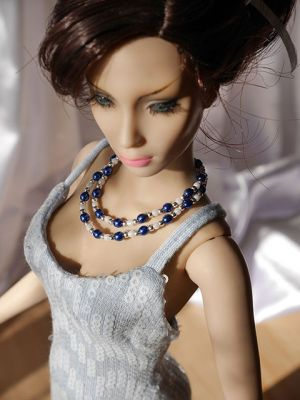 Sequine blue frozen+necklace 36