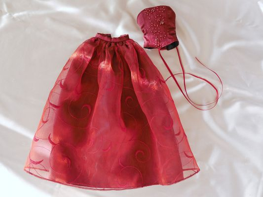 Wine-red-organza bead-ornament 41