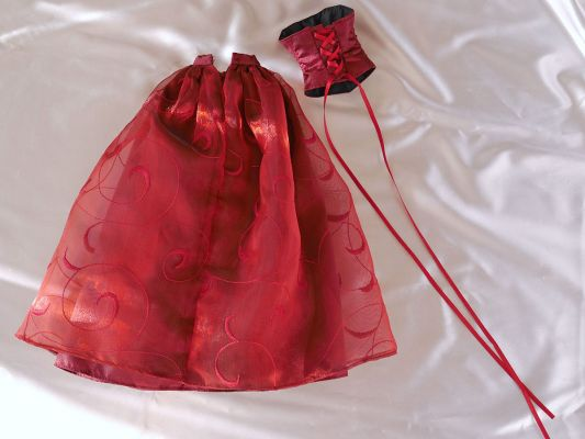 Wine-red-organza bead-ornament 42