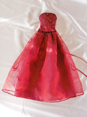 Wine-red-organza bead-ornament 43