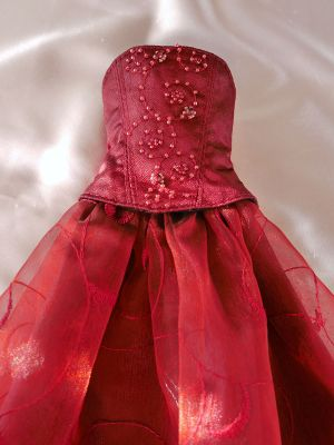 Wine-red-organza bead-ornament 44