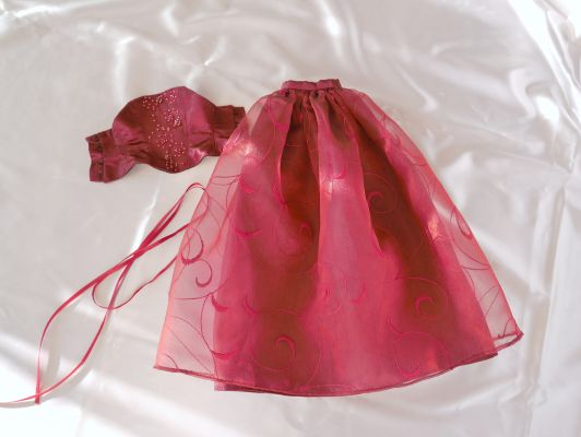 Wine-red-organza bead-ornament 45