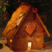 Lit gingerbread cottage